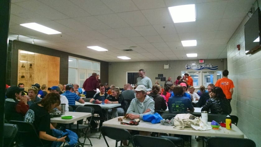 Post-race potluck with lots of Halloween chocolate